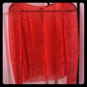 Red lace flower shirt